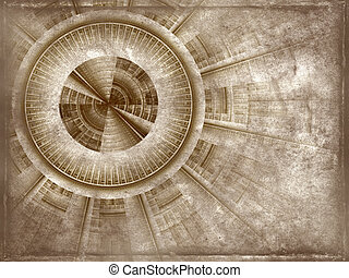 oggetto antiquariato vecchio, isolato, meccanismo, progetto, ruvido, carta, struttura, fondo, bianco, pergamena, rotolo