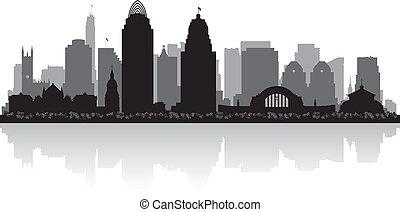 ohio, siluetta skyline, cincinnati, città