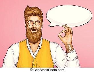 ok, esposizione, segno, vettore, hipster, cartone animato, uomo