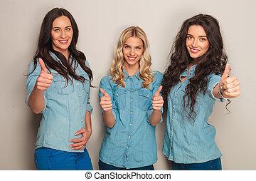 ok, vestiti, jeans, tre, segno, fabbricazione, donne, felice