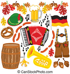 oktoberfest, elementi, festa, clipart