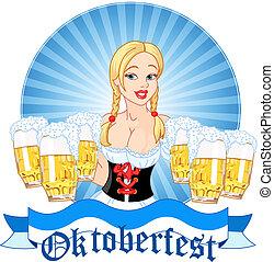 oktoberfest, ragazza, servire, birra