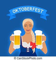 oktoberfest, vestito nazionale, birra, ragazza