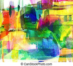 olio, astratto, sfocato, spot., freehand, painting., disegno