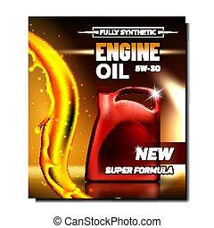 olio, automobile, lubrificazione, manifesto, motore, vettore, promo