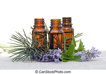 olio, bottiglie, lavanda, pino, aroma, menta