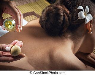 olio, frammento, giovane, environment., massaggio, terme, bello