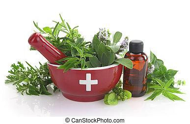 olio, mortaio, erbe, croce, bottiglia, medicina, fresco, essenziale