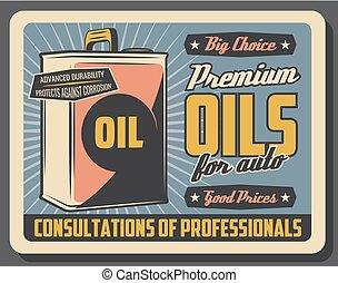 olio motore, can., automobile, metallo, motore, lubrificante