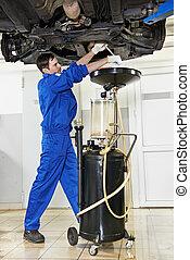 olio motore, meccanico, sostituendo, motore automobile