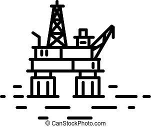 olio, o, costa, appartamento, piattaforma, lineare, illustrazione, gas