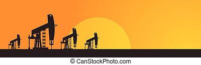 olio, pumpjack, autotreno, piattaforma, gru