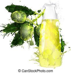 olio, ramo, colorito, fatto, schizzi, bottiglia, oliva