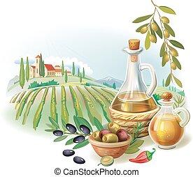 oliva, rurale, olio, bottiglie, paesaggio