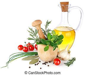 oliva, verdure fresche, olio, spezie