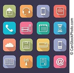 ombre, appartamento, icone, lungo, domanda, disegno, web