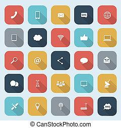 ombre, appartamento, set, eps10, icone, comunicazione mobile, web, illustrazione, domande, vettore, disegno, lungo, trendy, ecc.