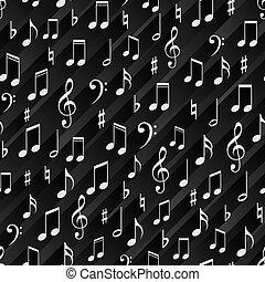 ombre, musicale, nero, striscia, seamless, fondo, behind., segni
