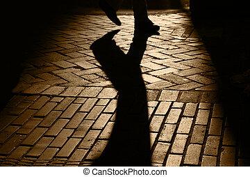 ombre, persona, silhouette, walkng