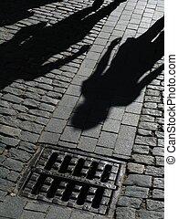 ombre, persone strada