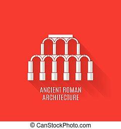 ombre, romano, antico, architettura, lungo