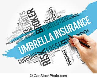 ombrello, collage, parola, nuvola, assicurazione