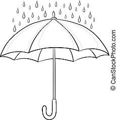 ombrello, contorni, pioggia