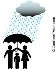 &, ombrello, famiglia, persone, simbolo, sicuro, pioggia, sotto, nuvola