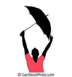 ombrello, illustrazione, uomo