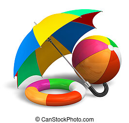 ombrello, palla, salvavita, colorare, items:, spiaggia