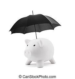 ombrello, piggy, insurance., finanziario, bianco, banca
