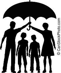 ombrello, rischio, famiglia, genitori, presa a terra, sicurezza, assicurazione