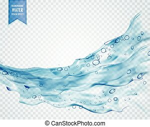 onda blu, acqua, schizzo, fondo, bolle, trasparente