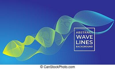 onda blu, concetto, disegno, astratto, fondo, vettore, subacqueo, acqua, linea