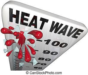 ondata calore, temperature, termometro