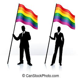 ondeggiamento bandierina, orgoglio gaio, silhouette, affari
