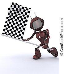ondeggiare, androide, bandierina checkered