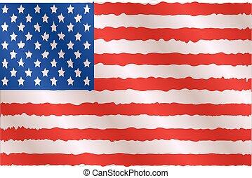 ondeggiare, bandiera americana, illustrazione