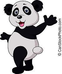 ondeggiare, carino, cartone animato, panda, mano