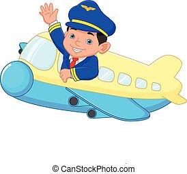 ondeggiare, cartone animato, giovane, pilota, aereo