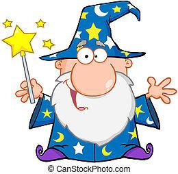 ondeggiare, divertente, mago, bacchetta magica