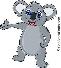ondeggiare, felice, koala, cartone animato, mano