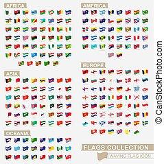 ondeggiare, grande, icona, bandiere, continenti, bandiera, collezione, fascicolato, alphabetically.