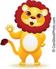ondeggiare, leone, cartone animato, mano