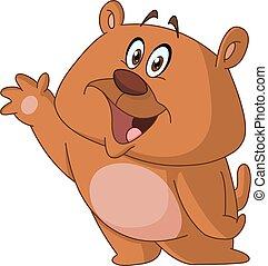 ondeggiare, orso, felice