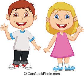 ondeggiare, ragazzo, ragazza, cartone animato, mano