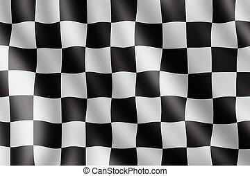 ondeggiare, realistico, bandierina checkered, illustrazione