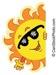 ondeggiare, sole, cartone animato