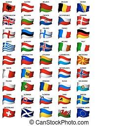 ondulato, set, bandiere, europeo