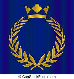 onore, illustration., oro, corona reale, color., vittoria, vettore, qualità